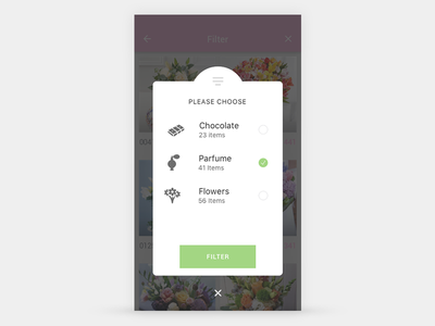Pop-up filter screen navigation list icons flowers chocolate parfume ux ui mobile screen filter popup