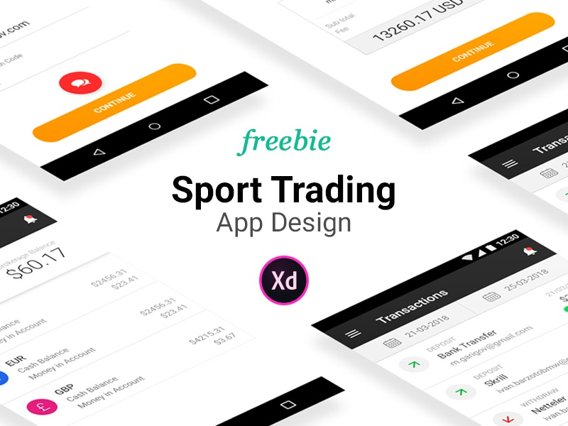 Sport Trading App Design Adobe Xd 35 Screens finance app betting adobe xd xd free freebie app design trading app sport