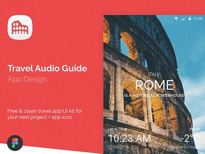 Travel Audio Guide UI Kit freebie free ui app design figma app design figma guides audio guide tourist tourism trip planner travelling travel agency travel app