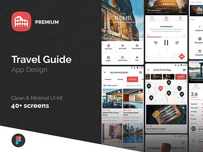 Travel Guide App Design UI Kit figma ui kit minimal clean journey planner guide mobile app trip travel