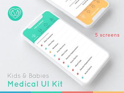 Kids & Babies Medical UI Kit pills tabs ui kit small app list homeopathy colorful babies kids medicine medical app