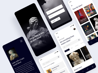 Virtual Art Gallery UI design all screens ux user experience product design product pixel navy app design art mobile app ui design app ui ux design app ui design app ui app ui mockup mobile app ui design daily ui uxdesign uxui ux design user interface ui