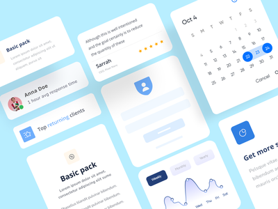 Agency landing page UI components interface elements uiux uidesign ui kit ui cards system ui elements component design pixel navy design elements design kit web product design product typography visual design ui style guide component library componet componets