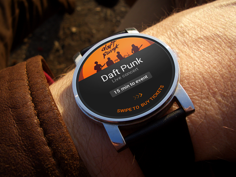 GateMe - Android Wear concept android wear concept watch event tickets ui flat adobe fireworks