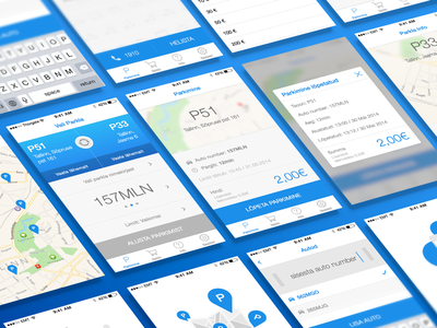 Parking app for iOS7 ios7 iphone app parking mobile app clean simple flat sketch sketch3