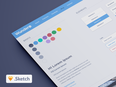WunderUI - Free Sketch 3 User Interface Kit free ui freebie sketch ux clean simple download template ui kit adobe fireworks