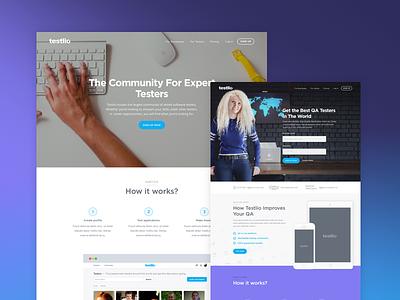 Testlio - Web Design web animation sektch sketch3 sketchapp startup colourful flat simple clean web design testing