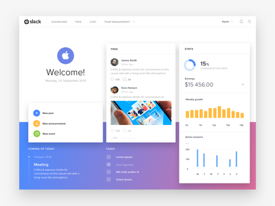 Slack Dashboard Concept (Freebie) ux ui flat simple clean sketch freebie dashboard slack