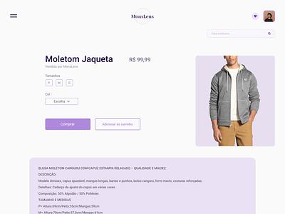 Item Loja preço price moletom shop item cards ui design