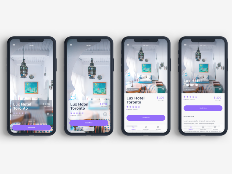 Rooms Hotel Booking App UI Kit modern clean listing ux travel blog iphonex design mobile ios app ui sketch
