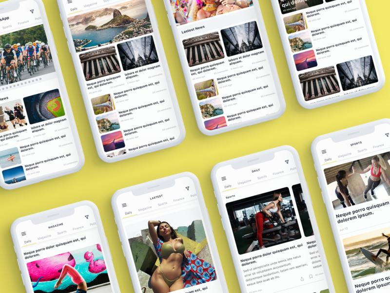 Nev - News App UI Kit ui8 light ios blog listing vector mobile app ui sketch