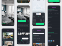 Vesta Dark Travel Booking App UI Kit