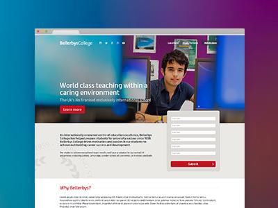 Bellerbys College landing page 2014 landing page web web design gui interface design ui flat user simple app