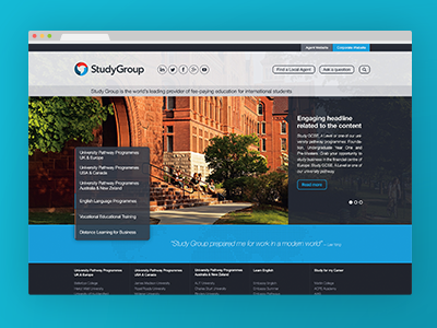 Study Group microsite design web design ui gui flat web ux interface