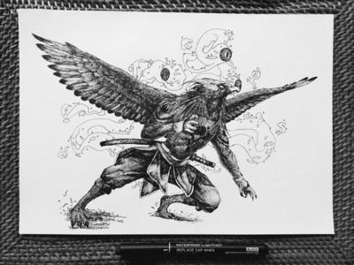 Blind Eagle samurai bird illustration illustraion artwork fly mythology creature bird dark theme blind eagle