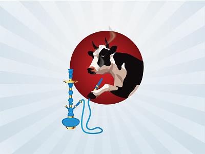Illustration of Hookah Cow sheesha character mascot