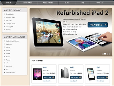 Landing page E-Store for Ipad web banner estore banner landing page