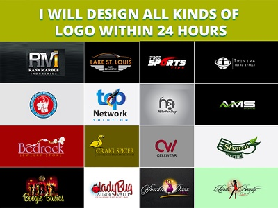 All kinds of logo services within 24 hours 24 hours logo design services mockup vector branding logo