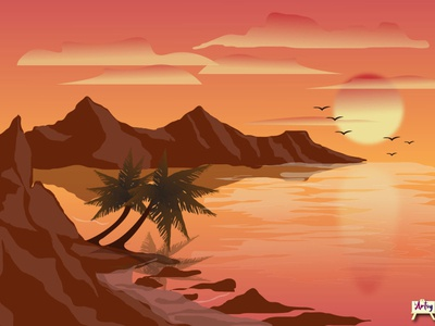 Sunset, Island clouds design sunsets mountains trees pixel art digitalart illustraion peaceful twilight island sunset