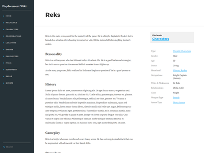 Displacement Wiki Preview ui design wiki web design
