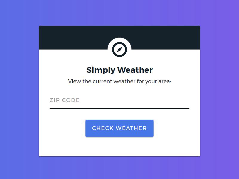 Simply Weather Web App web app weather ui design web design weather app