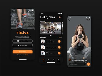 FitLive: Fitness Mobile App for Online Trainigs online training app development ui ux design workout tracker workout app gym app app designer app development company mobile app design fitness app app design