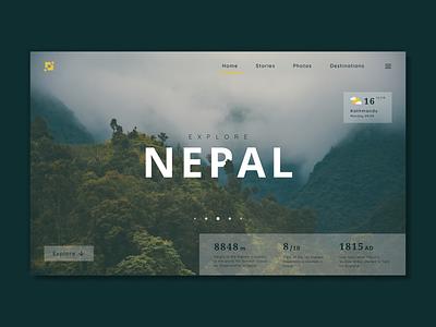 Nepal Page landing page ui green travel nepal userinterface ux ui landing page daily ui