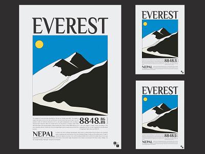 Everest Poster vector art graphic design black  white nepal illustrator illustraion poster design poster mountain mount everest