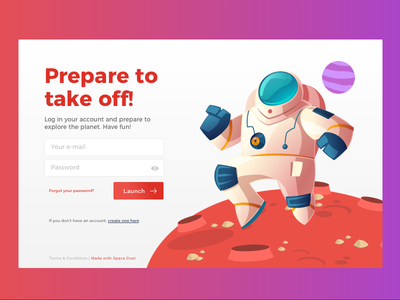 Prepare to take off! login in sign up sign in space planet mars sketch ux ui