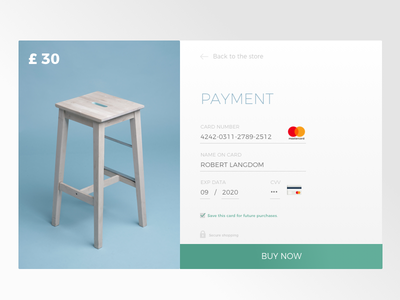Payment Screen credit card buy flat clean check-out payment