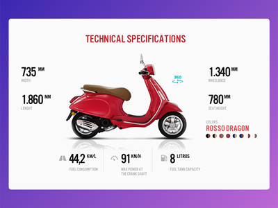 Vespa Specifications Screen product page product motorcycle vehicle modern specifications flat vespa