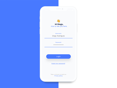 Login Screen iphonex emoji blue minimalist flat login