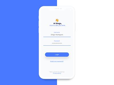 Login Screen iphonex emoji blue minimalist flat login
