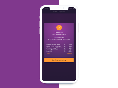 Payment screen modal box payment design interface