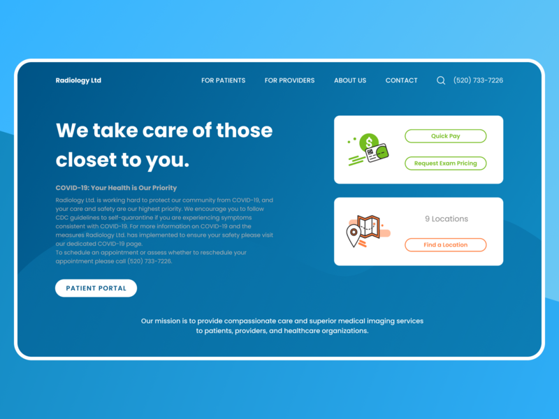 Radiology Redesign Concept coronavirus corona blue website design website web design redesign webdesigner web webdesign ui figma concept design concept uidesign design