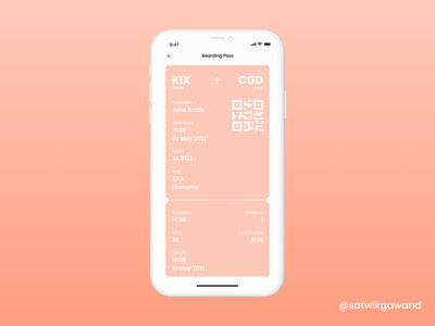 040 - Boarding Pass mobile app ui app design app ui figma concept design design concept uidesign