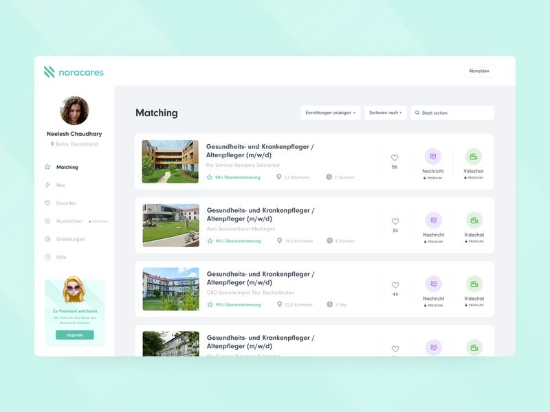 Matching 🧑⚕️ noracares webapp desktop web premium message filter search tab bar sidebar modern minimal mangement cards ui ux ui interface application app design app