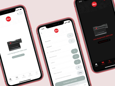 Leica Mobile App 📱The Hunting App dark ios app design design modern minimal interface application ux ui app dark mode