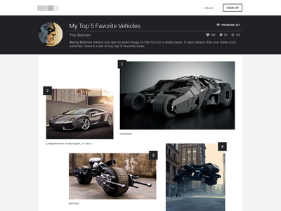 Visual List Layout batman design web minimalist layout ui list