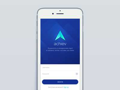 Achiev Sign In  productivity mobile app ui sign in log in