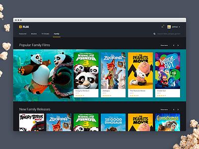 Web Movie App UI video dark media streaming flat ux tv application ui movie app web