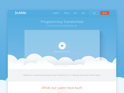 Bubble Homepage clouds blue bubble website ux ui landing homepage web