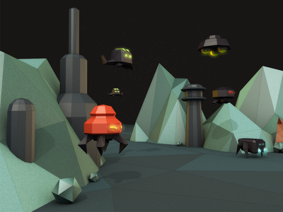 Alien Invasion space cel renderer low poly 3d cinema 4d c4d aliens