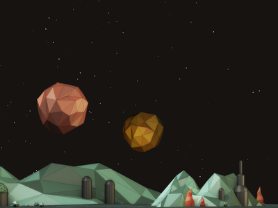 Terrestrial Planet low poly 3d cinema 4d c4d space cel renderer mountains planet extraterrestrial