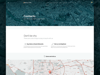 Contact Page web design wordpress theme contacts footer maps