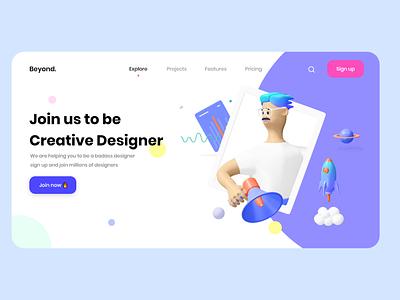 Beyond - Designers community uidesign web landing uxdesigns uxdesign agancy ui