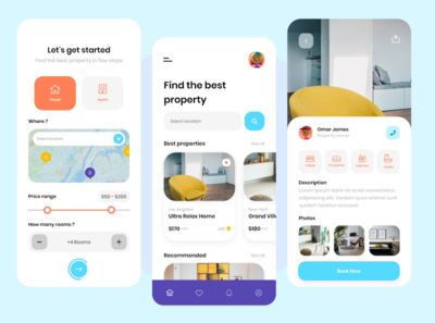 House & Apartment Rental App 🏡 colorful clean xd uxdesign uidesign rental app apartments for sale apartment rent house mobile app uiux ux ui