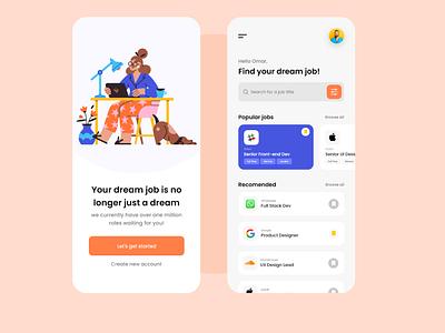 Job Finer App website design website web mobile app design mobile app mobile ui app adobe uxui ui design mobile design app job figma xd uxdesign design ux ui