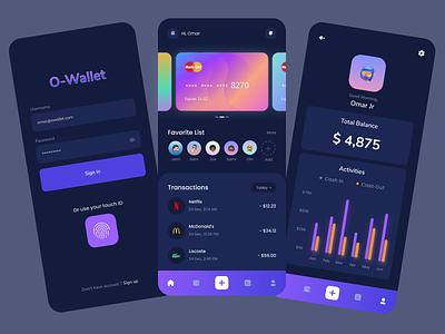 O-Wallet Bank App 💰 bank app banking ewallet dark theme dark mode dark app dark figma illustraion illustrator wallet bank uxd adobe uxdesign uidesign uiux ui