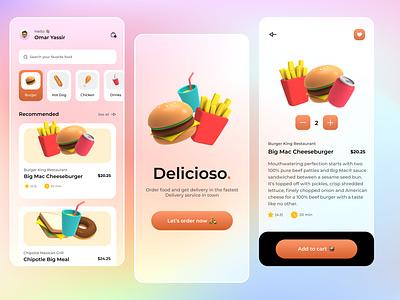 Delicioso 🍟🍔🌭🍗 gradients colors uiuxdesigner delivery food glassmorphism glass figma adobe uiuxdesign ui design uiux ui